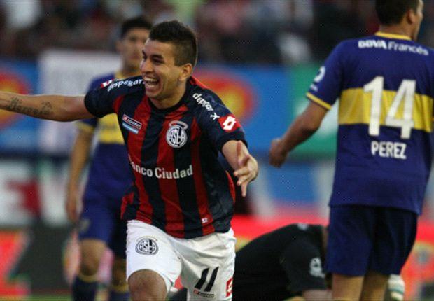 El delantero de San Lorenzo durante un partido ante Boca Juniors
