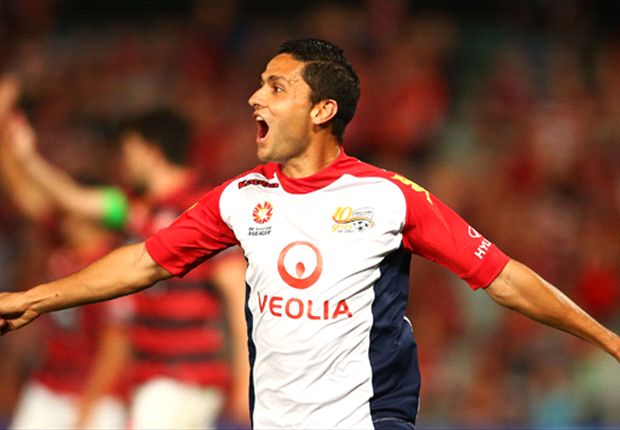 The re-signed star celebrates a goal in Parramatta