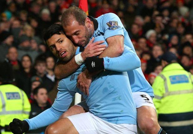 Zabaleta y Agüero, figuras de Manchester City.