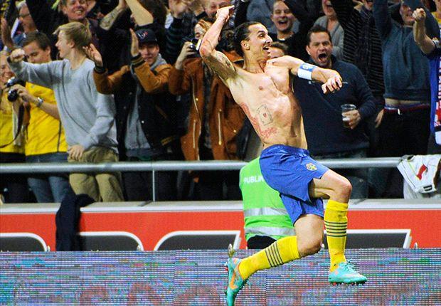 Zlatan Ibrahimovic durante un encuentro con la selección de Suecia