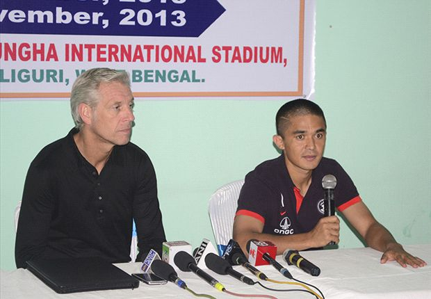 Chhetri (right) has equaled Bhutia's record, scoring 42 international goals