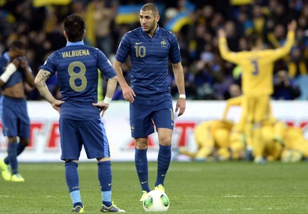 Ukraine won 2-0 in the first leg to leave France with an uphill task to make it to Brazil.