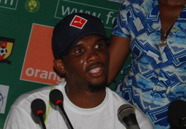 Samuel Eto'o at the post match conference (Photo by Lawrence Nkede)