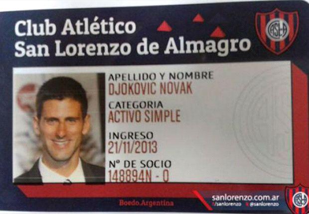 Novak Djokovic desea suerte a San Lorenzo en la Copa Libertadores