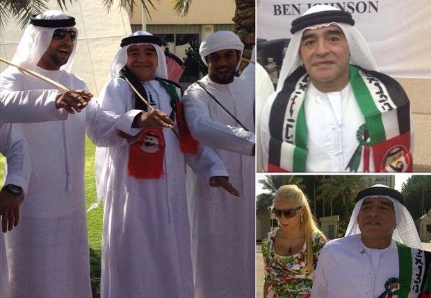 Diego, vestido de árabe. Maradona rompe las fronteras