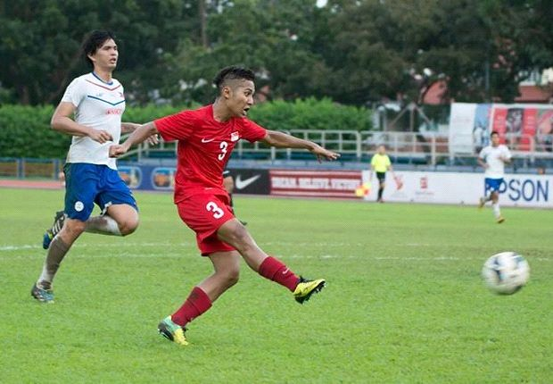 Sahil Suhaimi was on the scoresheet as the Young Lions ran riot. (Photo: FAS)