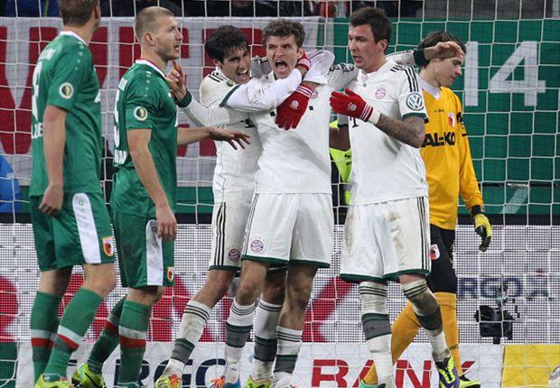 Große Freude der Bayern über den Einzug ins Pokal-Viertelfinale gegen den FC Augsburg und den neuen Vereinsrekord