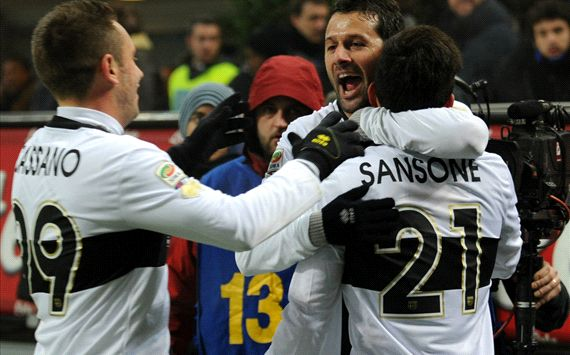 Parma celebrating Inter-Parma Serie A