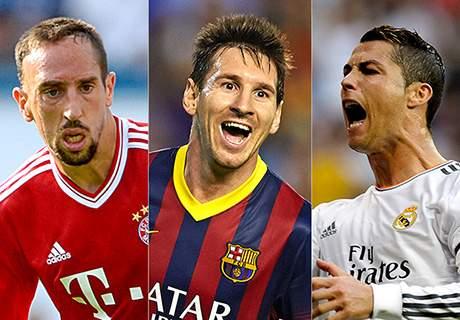 سه نامزد نهایی توپ طلا اعلام شد؛ ریبری، رونالدو و مسی به دنبال توپ طلای 2013