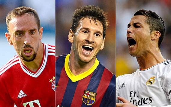 Messi, Ronaldo & Ribery up for Ballon d'Or