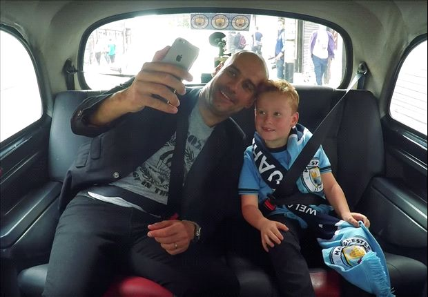 'Can you ring Messi to see if he will sign?' - Watch as Guardiola gets upstaged by Manchester City superfan