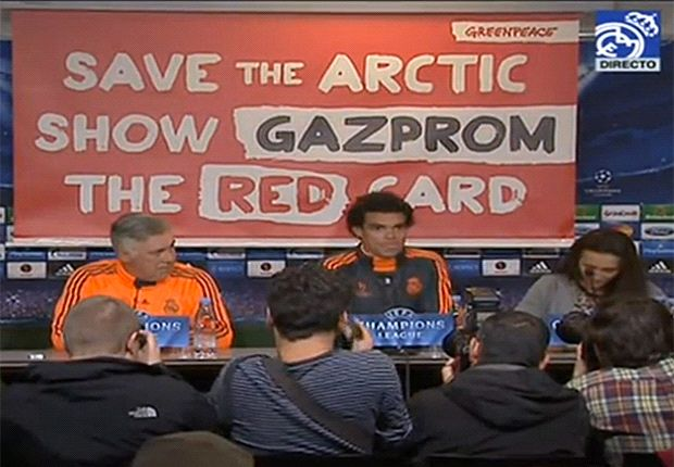 Greenpeace hijack Real Madrid press conference with anti-Gazprom banner