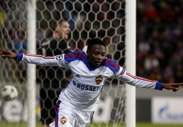 Ahmed Musa celebrates his goal against Viktoria Plzen
