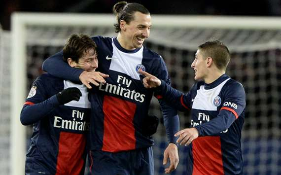 Zlatan Ibrahimovic (C) alongside Paris Saint-Germain's team-mates Maxwell and Marco Verratti