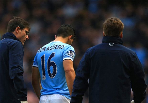 Aguero limps out of Arsenal clash with calf injury