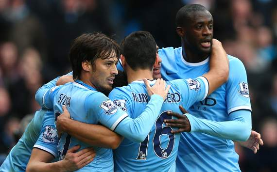 David Silva Pablo Zabaleta Yaya Toure  Manchester City Arsenal Premier League