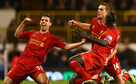 Jordan Henderson; Mamadou Sakho; Jon Flanagan Tottenham Hotspur v Liverpool - English Premier League 12152013
