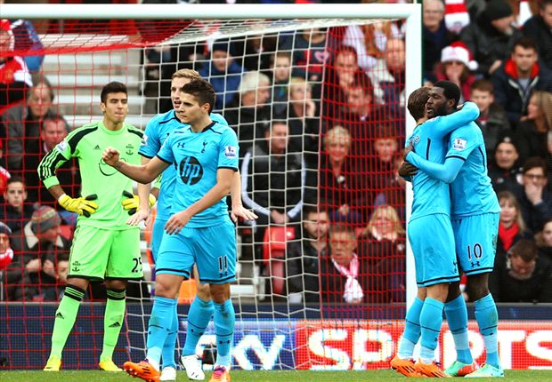 Southampton 2-3 Tottenham: Adebayor double hands Sherwood first win