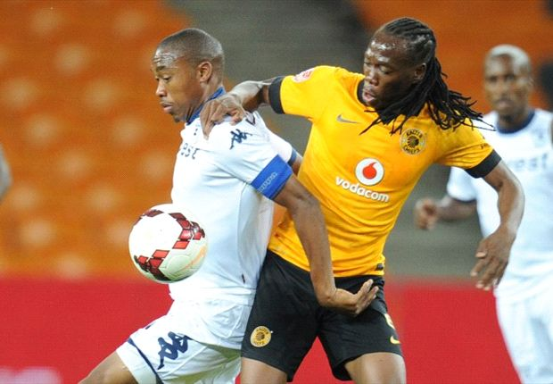 Reneilwe Letsholonyane battling for possession with Sibusiso Vilakazi (Photo by Siwengu)
