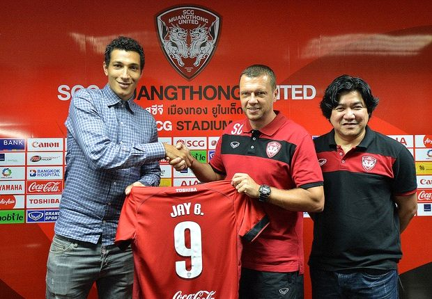 The former Premier League striker being unveiled by the Thai Premier League side.