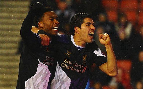 Luis Suarez; Daniel Sturridge Stoke City v Liverpool - English Premier League 01122014