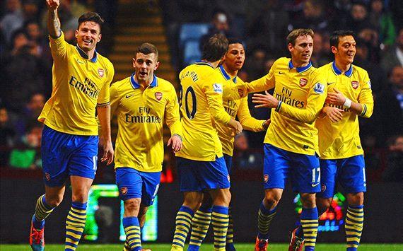Olivier Giroud; Jack Wilshere Aston Villa v Arsenal - English Premier League 01132014