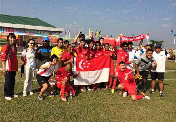 Singapore Cerebral Palsy Football Team are ecstatic after beating Thailand 5-1