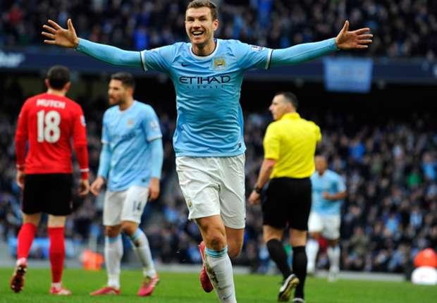 Dzeko festeja el 1 a 0 ante Cardiff. El número 100 del City en la temporada...