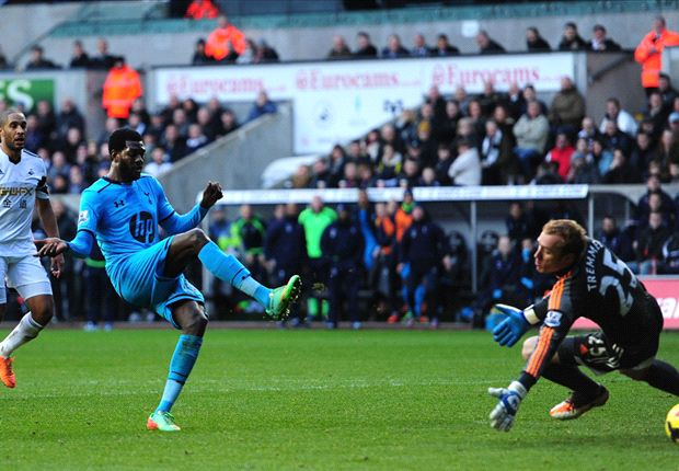 Swansea City 1-3 Tottenham: Adebayor hits top form to send Spurs fifth