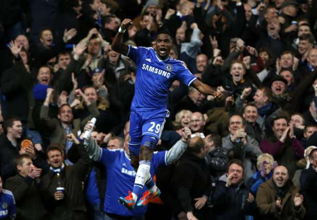 The Chelsea striker grabbed all the goals in a 3-1 win against Man Utd.