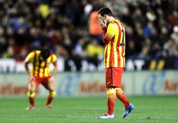 Man sieht Lionel Messi die Enttäuschung über Barcas Punktverlust bei Levante deutlich an