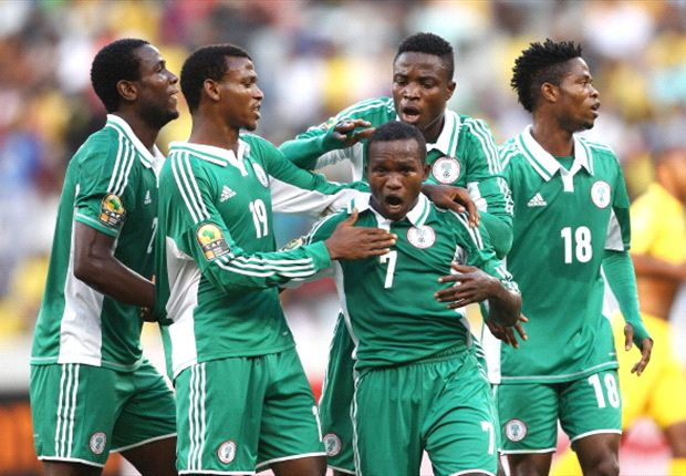 Nigeria Super Eagles celebrate Uzoenyi's goal against Bafana