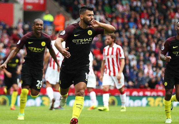 Stoke City Satu Empat Manchester City Aguero Nolito Hit Doubles In Routine Win