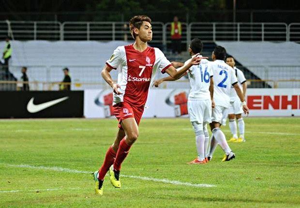 Gabriel Quak celebrates scoring against DRB-Hicom FC.