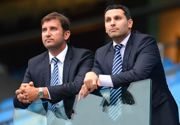 Soriano and City chairman Khaldoon Al Mubarak survey their domain