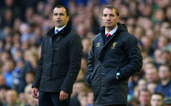 Liverpool manager Brendan Rodgers and Everton boss Roberto Martinez