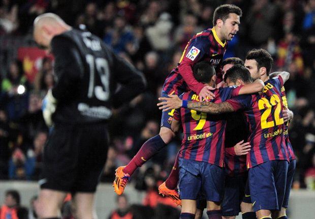 Barcelona goleó a Málaga y sigue en la cima de La Liga