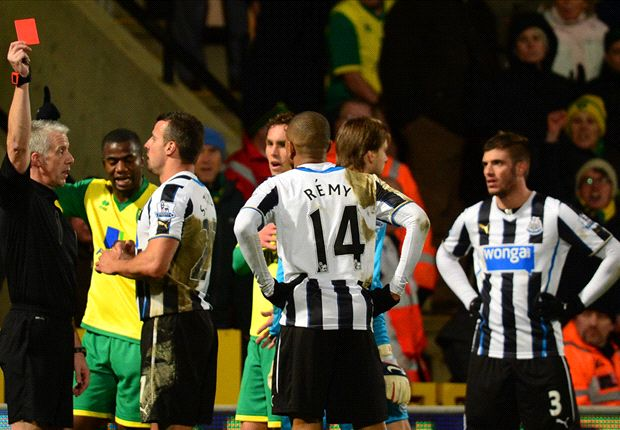 Norwich 0-0 Newcastle: Remy & Johnson see red in stalemate