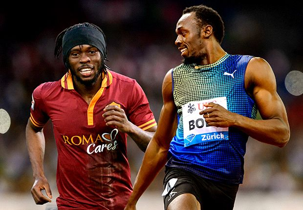 Gervinho vs. Usain Bolt (fotomontaje)