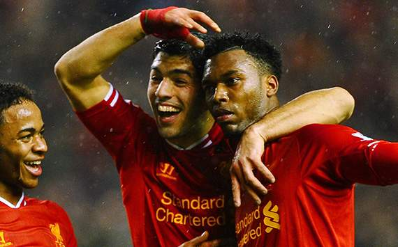 Luis Suarez Daniel Sturridge Liverpool Premier League 02022014