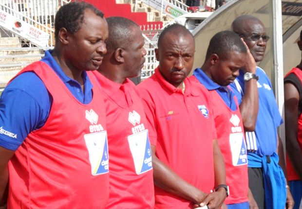 AFC Leopards technical bench headed by James Nandwa.