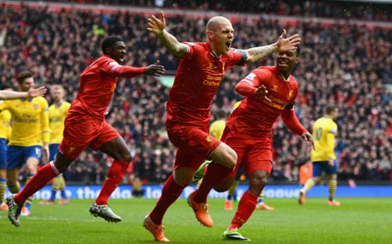 Liverpool celebrate a Martin Skrtel goal