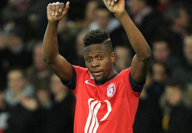 Divock Origi of Lille celebrates scoring against Sochaux in Ligue 1.