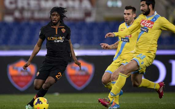 Roma forward Gervinho runs at Napoli defence