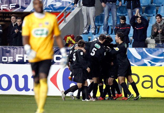 CA Bastia players celebrate a goal