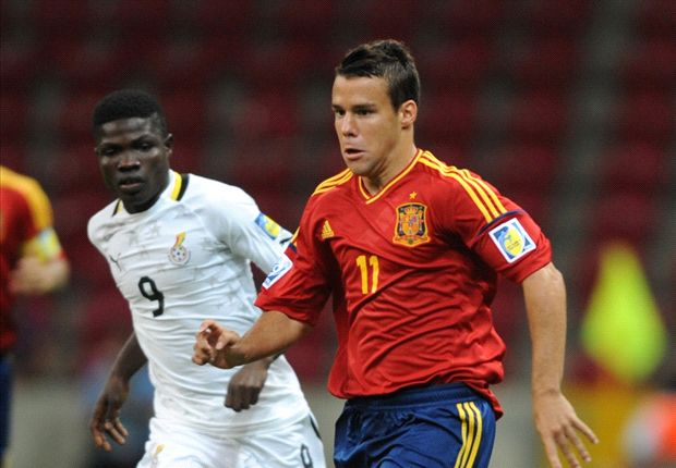 Juan Bernat of Spain with Francis Narh at the U20 WC