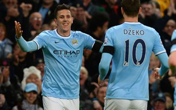 Manchester City's Stevan Jovetic celebrates his goal against Chelsea