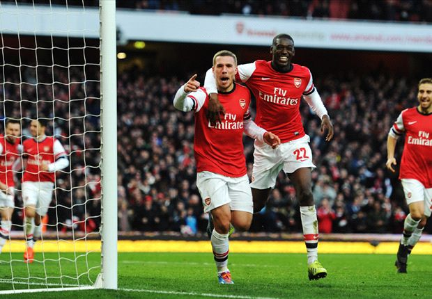 Arsenal 2-1 Liverpool: Podolski strikes as Gunners cling on for quarter-final spot