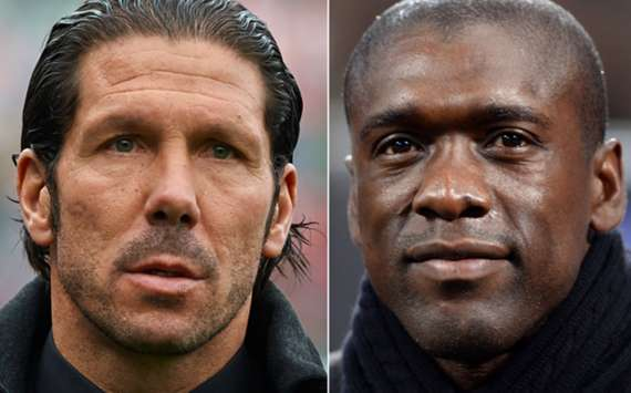 Atletico Madrid head coach Diego Simeone and Milan boss Clarence Seedorf