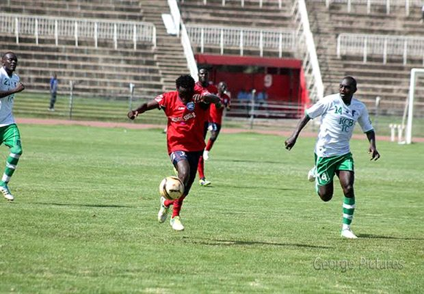 AFC Leopards striker Jacob Keli battles for the ball against a KCB opponent.